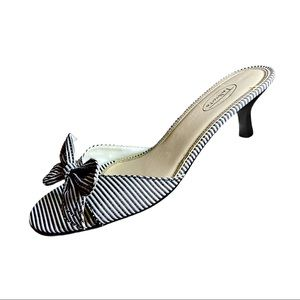Talbots Marika Black/White Stripe Kitten Heels 9.5